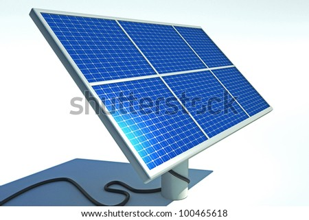 3d image of solar power panel against abstract background - stock photo