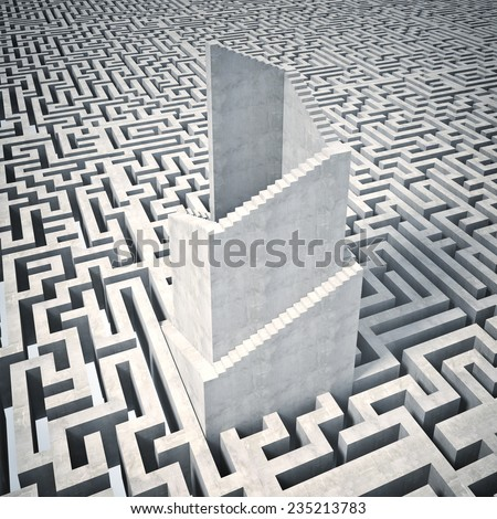 3d image of tall tower and maze