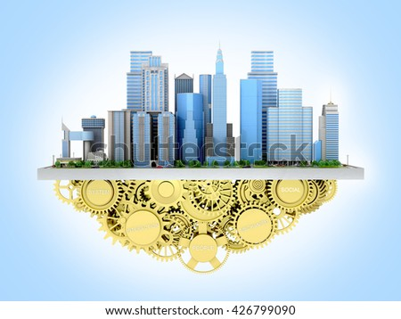 3d image of the city to stand with gears. 3D illustration