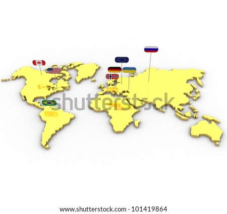 3D image of the earth is flat with the flags on a white background isolated - stock photo