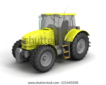3D image of tractor on white background. - stock photo