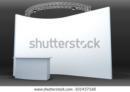 3d image of trade exhibition booth with blank board - stock photo