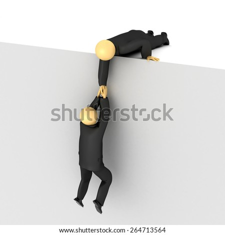 3D image of two businessmen and helping hand from other. - stock photo