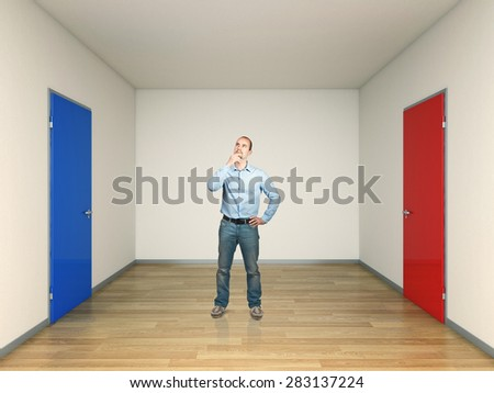 3d image of two doors and thinking man - stock photo