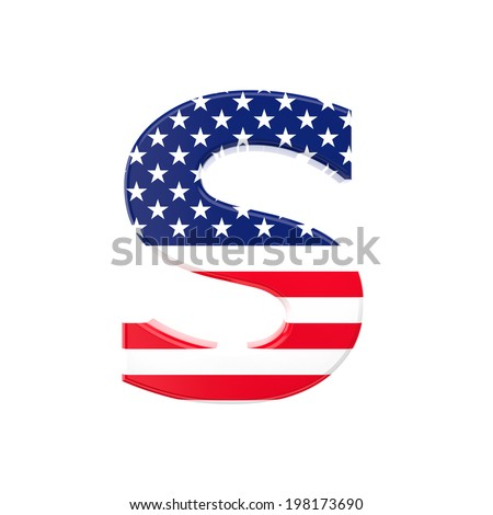 3d image of usa font letter on white background