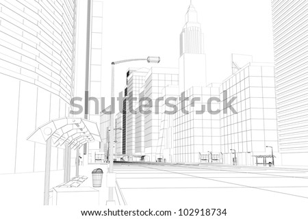 3d image of wire frame view of city scape - stock photo