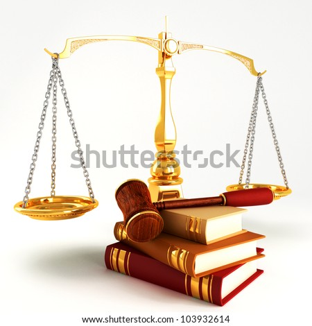 3d image of wooden law gave on pile of colorful book - stock photo