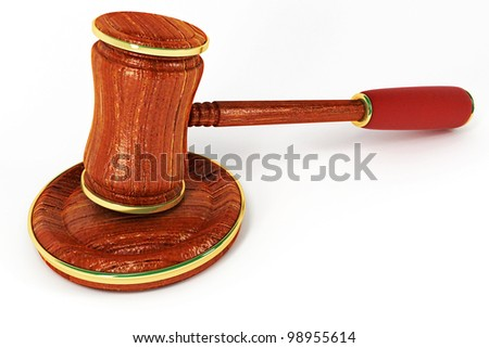 3d image of wooden law gavel against white background - stock photo