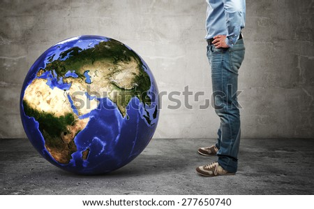 3d image of world globe europe side  and man - stock photo