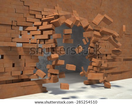 3d image og breaking brick wall - stock photo