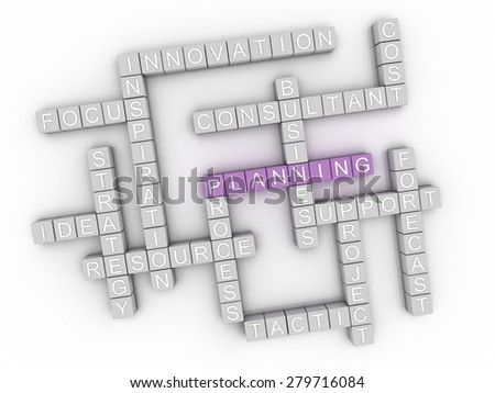 3d image Planning issues concept word cloud background - stock photo