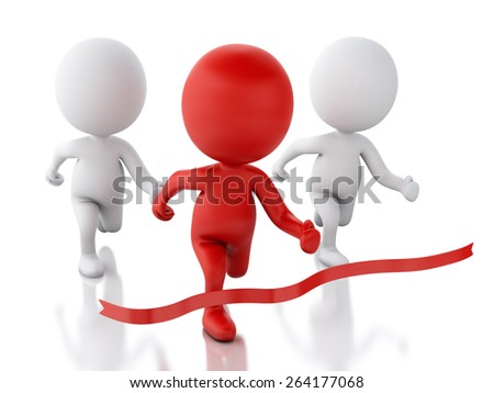 3d image. Red people crossing the finishing line. Succes concept. Isolated white background - stock photo