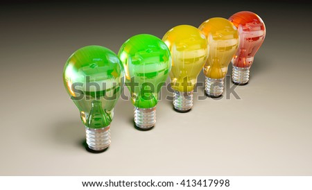 3d image rendering of energy efficiency chart lamps  - stock photo