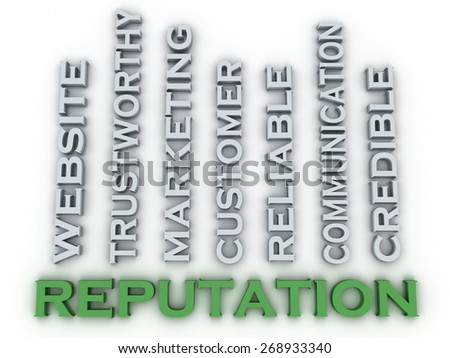 3d image Reputation  issues concept word cloud background - stock photo