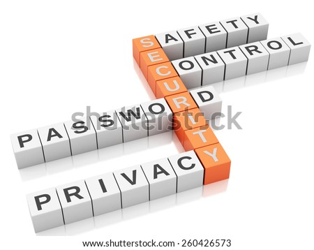 3d image. Security concept. Crossword with letters, Isolated white background