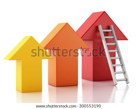 3d image. Stair leading an arrow. Success concept. Isolated white background - stock photo