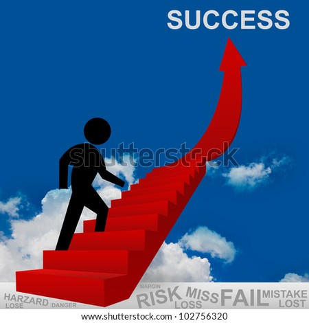 3D Image, The Man Climbing for Success, Business Concept of Step for Success - stock photo