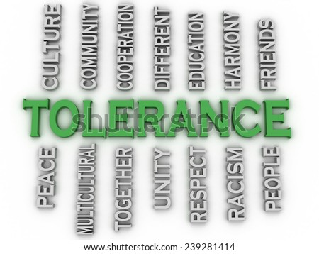 3d image Tolerance issues concept word cloud background - stock photo