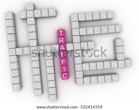 3d image Traffic word cloud concept - stock photo