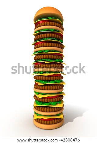 3d image very big hamburger tower with tomato lettuce and cheese isolated on white background and clipping path - stock photo