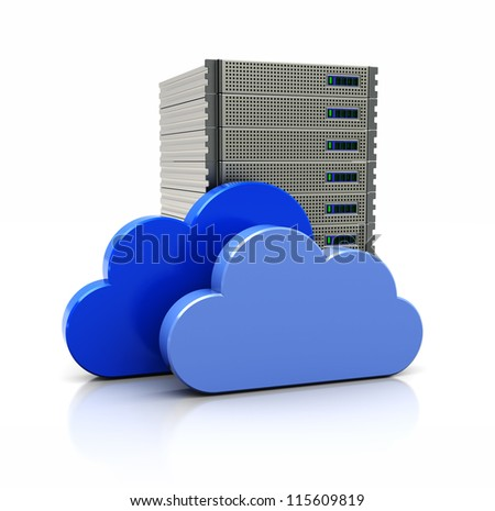 3d image, virtual bank with blue clouds