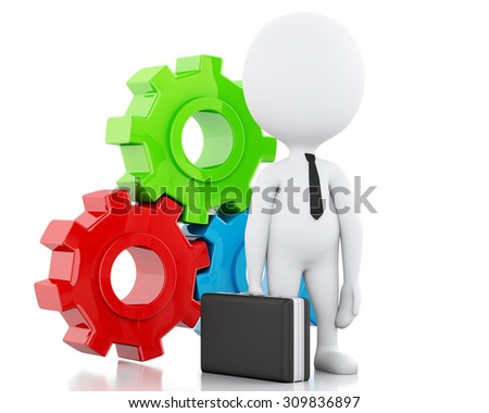 3d image. White business people and gear mechanism. Business concept. Isolated white background