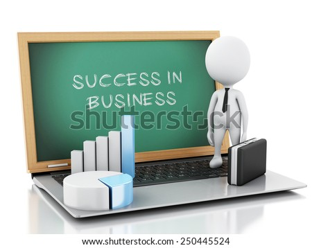 3d image. White business people with briefcase, statistic graph and laptop pc. Success concept. Isolated white background - stock photo
