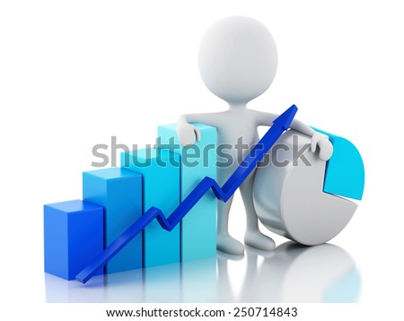 3d image. White business people with statistic graph. Business concept. Isolated white background