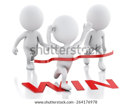 3d image. White people crossing the finishing line. Succes concept. Isolated white background