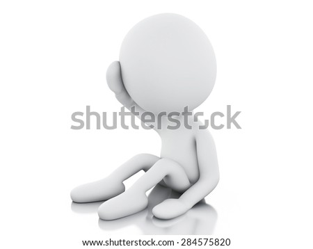 3d image. White people need help. Isolated white background