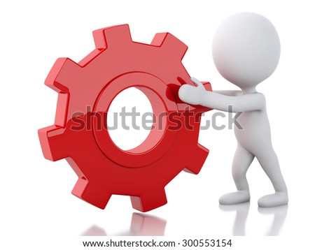 3d image. White people pushes a red gear. Business concept. Isolated white background