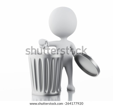3d image. White people recycle trash can. Isolated white background - stock photo