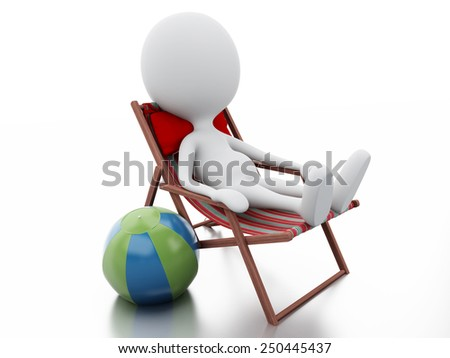 3d image. White people relaxed on a beach chair. Summer vacation concept. Isolated white background