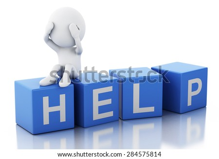 3d image. White people sad holding his head with his hands. Isolated white background