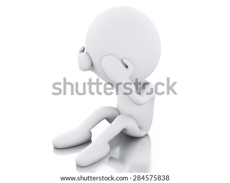 3d image. White people sad holding his head with his hands. Isolated white background - stock photo