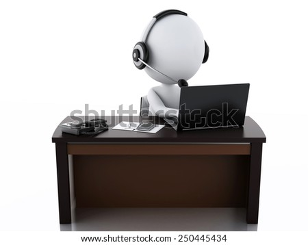 3d image. White people with a Headphones with Microphone and laptop. Employees working in a call center.