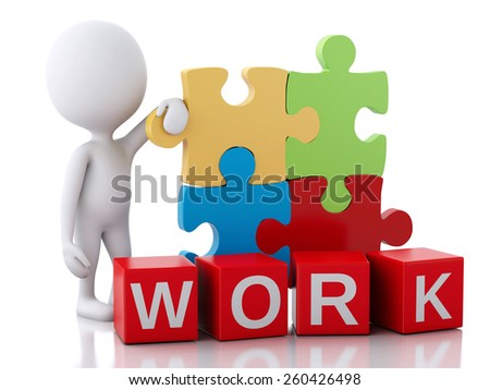3d image. White people with piece of a puzzle. Work concept. Isolated white background - stock photo