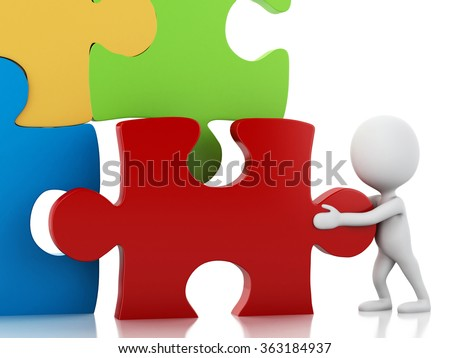 3d image. White people with puzzle pieces. Success concept. Isolated white background