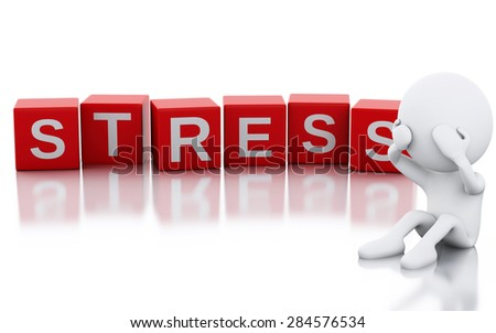 3d image. white people with Stress, holding his head with his hands. Isolated white background - stock photo