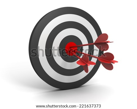 3D image with target and one arrow.