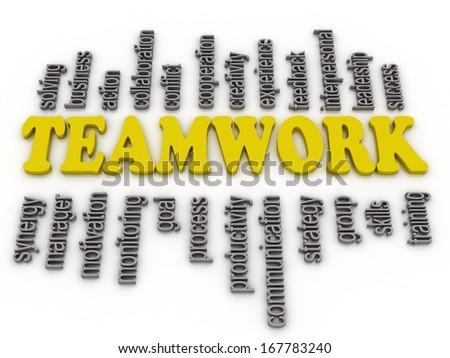 3d imagen a word cloud of teamwork related items  - stock photo