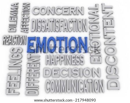 3d imagen Emotion concept word cloud background - stock photo