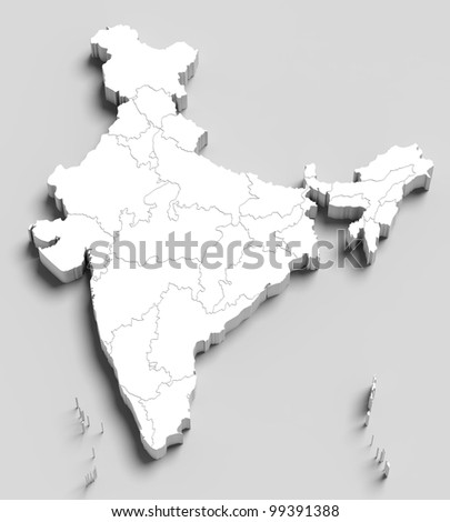 3d India white map on grey isolated