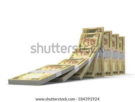 3D indian money dominoes stacked falling and collapsing  isolated on white background - stock photo