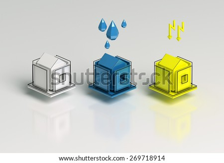3d infographic houses  - stock photo