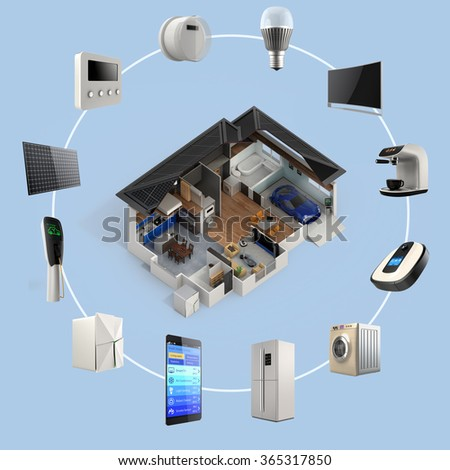 3D infographics of smart home automation technology. Smart appliances thumbnail image  available. - stock photo