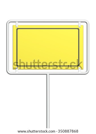 3d information sign of yellow color. Object isolated on white background