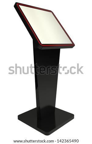 3d Information terminal; Point-of-sale (POS) or Point-of-information (POI) kiosk, white background - stock photo