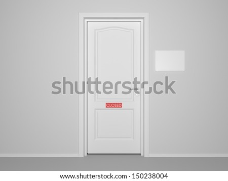 3d interior and white door and walls