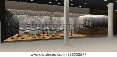 3d interior image of cafe in concert hall